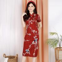 Dress chongsam / gaun cheongsam murah / congsam bunga / dres cheongsam