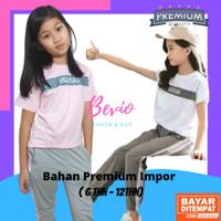 Setelan Anak Perempuan Impor 7-12 Tahun Baju Kaos Cewek Celana Fashion