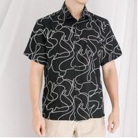 Kemeja Pria Motif Abstract Lines Garis Lengan Pendek Rayon Shirt