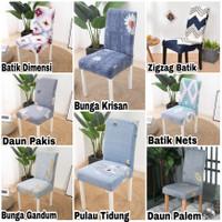 Cover KURSI Makan Elastis-Sarung Kursi MOTIF Import Stretch