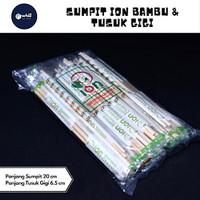 Sumpit Bambu Ion Cover Plastik + Tusuk Gigi Murah pack isi 40 pcs