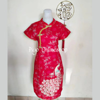 Dress Shanghai Cheongsam Merak Dewasa (Bunga Coin Emas)