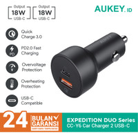 Aukey Car Charger CC-Y6 USB C 2 Ports 36W QC 3.0 - 500371