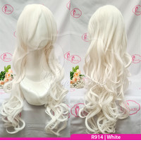 RC70 White putih | Wig long curly wavy / panjang keriting / cosplay