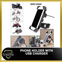 Holder HP Stang Stang dan Spion Motor Charger USB Phone Holder