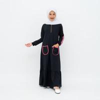 Baju gamis anak Perempuan Umur 4-11 Tahun Pocket Stripe Warna Black