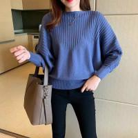 Atasan Rajut Wanita Import Premium Batwing knit import - Biru