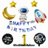 Windblown Balloon Foil Birthday Astronaut Outer Space Gold Moon