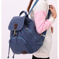 TR5 Tas Ransel Backpack Import Wanita Kanvas Slinbang - Biru