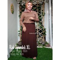 Rok Polos Wanita Spandek Katun Size Jumbo - Kopi, XL