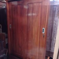 lemari pakaian 2 pintu sliding full jati asli