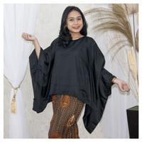Atasan Wanita Blouse Kebaya Batwing Kalong Polos Jumbo Size Hitam