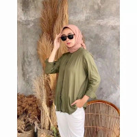 Kemeja Perempuan Rayon Maudy Shirt Atasan Wanita Polos Size Jumbo