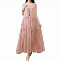 Promo baju pantai wanita dress santai tanpa lengan polos murah