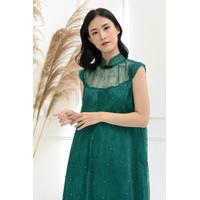 Hong Cheongsam Dress - Imlek CNY Qibao - Jade Green
