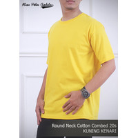 Kaos polos andalas coklat/kuning