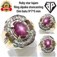 cincin batu permata merah Ruby star tajam dijamin asli natural 01b