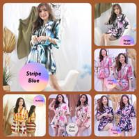 NEW! BAJU TIDUR HOTPANTS CEWEK/ WANITA PIYAMA KIMONO PENDEK MOTIF LUCU - Stripe Blue