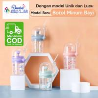 Botol Minum Anak Air Mancur Motif Hewan / Botol Minum Susu Bayi - Biru Muda