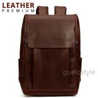 korea style laptop leather bag tas ransel kulit kantor kerja kuliah