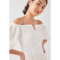 Kash Crinkled Off Shoulder Blouse - White