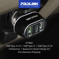 Car Charger PROLINK PCC34201 42W 3-Port Type C IntelliSense