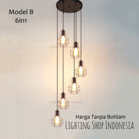 Lampu gantung void tangga minimalis 6in1 retro vintage 6 lampu