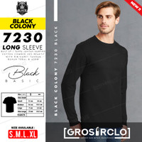Baju Kaos Polos Lengan Panjang Rib BLACK COLONY 7230 combed 20s tebal - BLACK, S