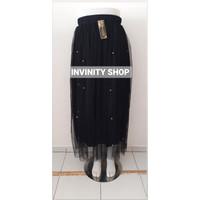 rok tutu mutiara panjang wanita dewasa import bahan haiget super - Hitam