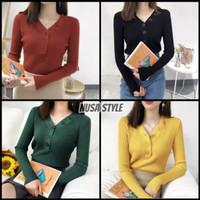 Atasan Wanita Rajut Halus Baju Kaos Blouse Slim Fit DALIS BUTTON