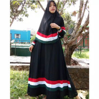 Baju Muslim Wanita Gamis Palestina Busui Hitam Free Hijab Kerudung