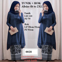 Tunik Brukat Navy Dongker + Rok Silky baju pesta formal kebaya wanita