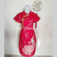 Dress Cheongsam Imlek Perempuan Dewasa Bahan Katun (Merak Samping)