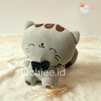 Boneka Plushies Kucing Cat Tersenyum Smiling Lucu S M Murah - Abu-abu, S