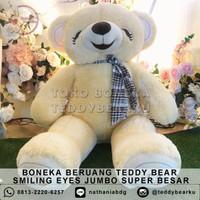 Boneka Beruang Teddy Bear Smiling Eyes Jumbo Super Besar - CREAM