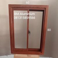 jendela aluminium L60xT80 warna serat kayu sliding geser murah promo