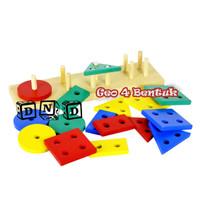 Mainan Edukatif / Edukasi Anak - Puzzle Kayu Balok Murah- Geo 4 Bentuk