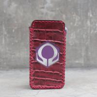 Red Croco Leather Case Sleeve Hexohm V3 Cut Logo Kulit Asli