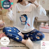 Piyama Korea Style Baju Tidur Doraemon Untuk Fashion Wanita
