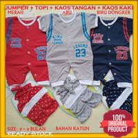 Baju Setelan Jumper Bayi Baru Lahir Laki-laki 0-6 Bulan Motif Teddy