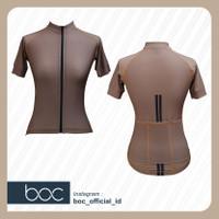 Baju Sepeda Cyling Jersey Cowok/Cewek/Unisex Pro basic-Ash brown