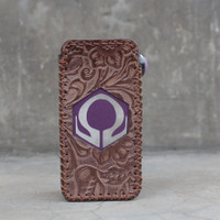 Brown Batik Leather Case Sleeve Hexohm V3 Cut Logo Kulit Asli