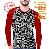 Baju Pria Atasan Kekinian Kaos Raglan / Lengan Panjang Barcode Murah - merah lngan pjg, M