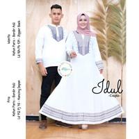 New Idul Couple Baju Muslim Pria Wanita Gamis Kemeja Koko White Series