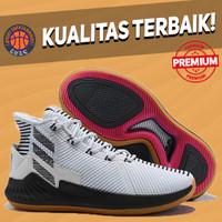 Sepatu Basket Sneakers Adidas Rose 9 White Gum Black Pink Pria Wanita