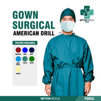 APD Gown Surgical Baju Bedah Operasi Jubah Medis Bahan American Drill