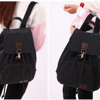 TR5 Tas Ransel Backpack Wanita Kanvas Sekolah Slinbag Cewek import - Hitam