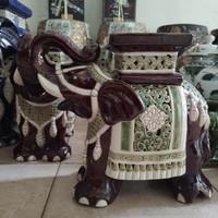 Guci Gajah Keramik Porcelain Oriental T 30cm / Barang Antik Tua Kuno