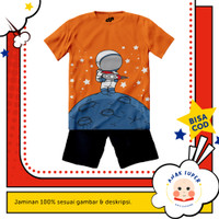 Baju anak laki-laki / Setelan anak laki-laki motif Astronot Moon - 1-2 tahun