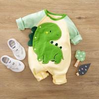 Baju Bayi Import Korea Motif Dino Hijau 100% Katun baju bayi Unisex - 9-12 Bulan